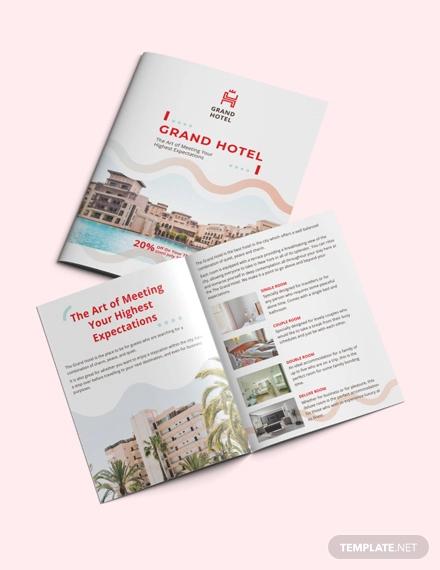 grand hotel bi fold brochure template