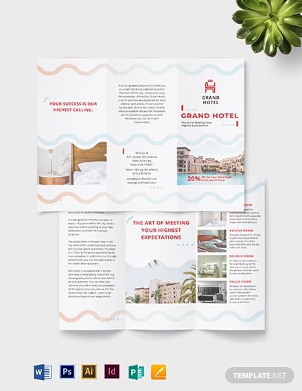 grand hotel tri fold brochure template