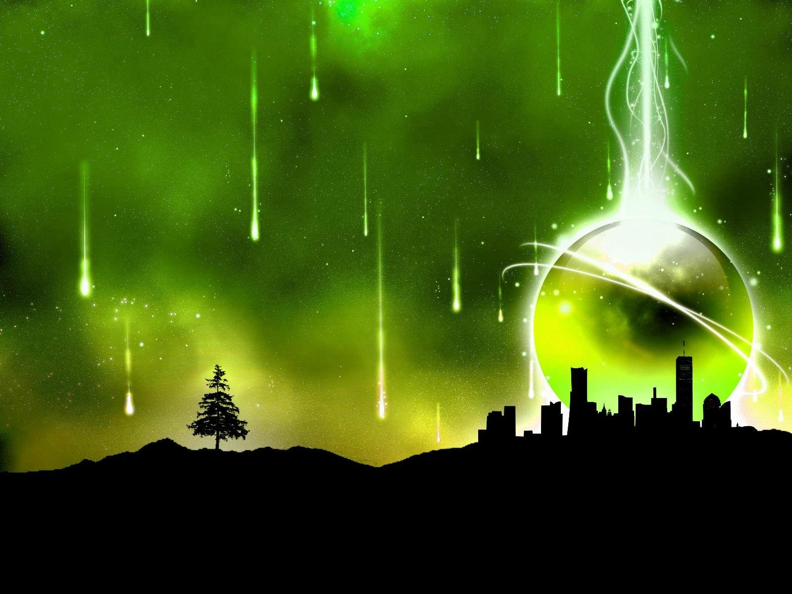 Green Abstract City Wallpaper