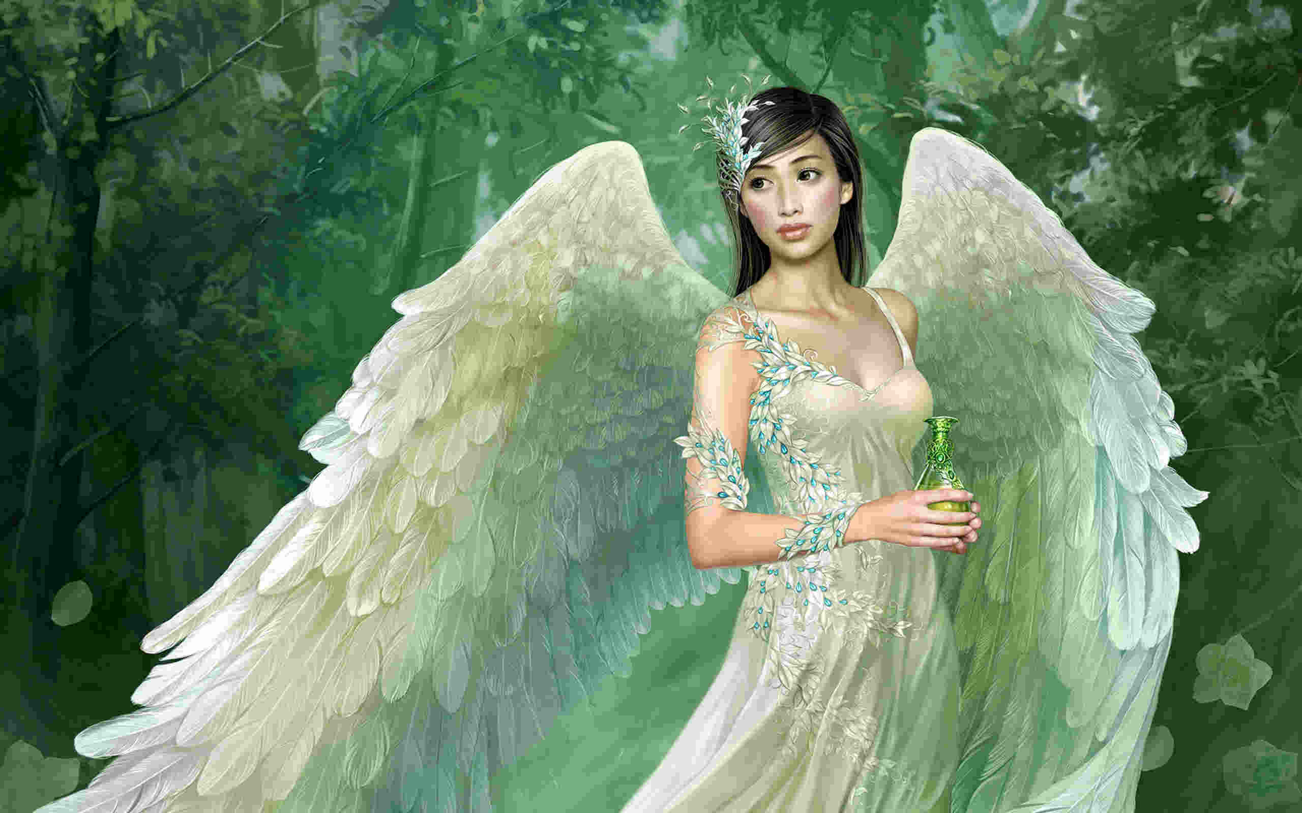Green Fantasy Angel Wallpaper