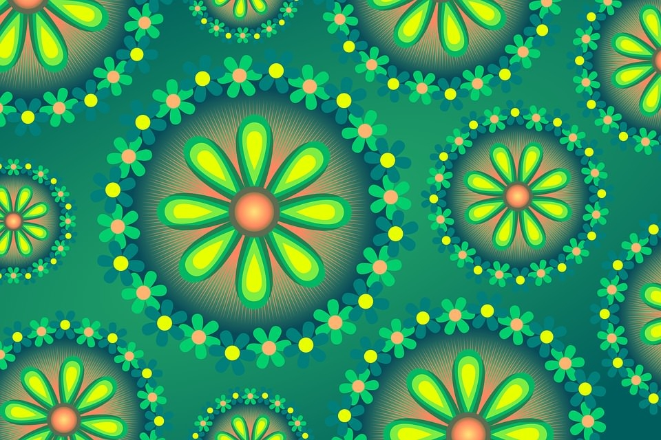 Green Floral Textured Background