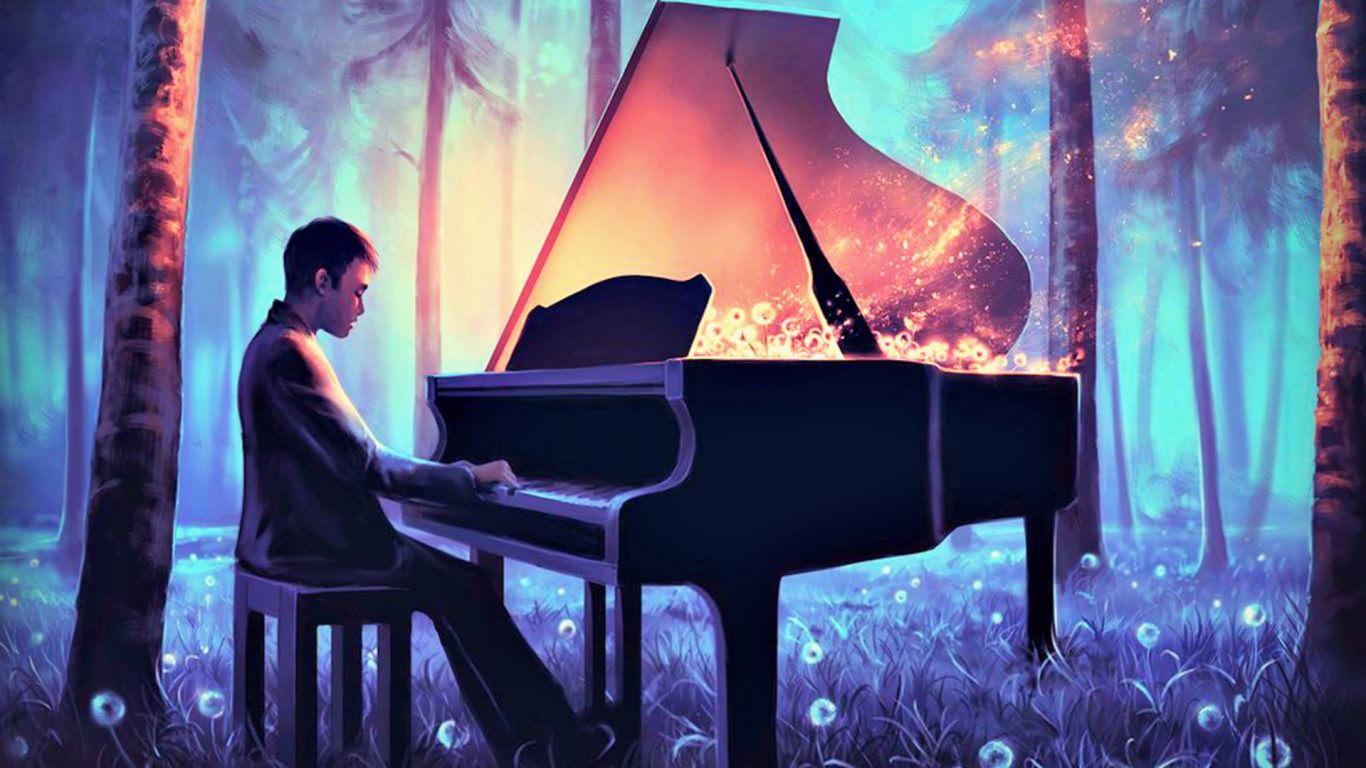 He plays piano in the Dark Wallpaper