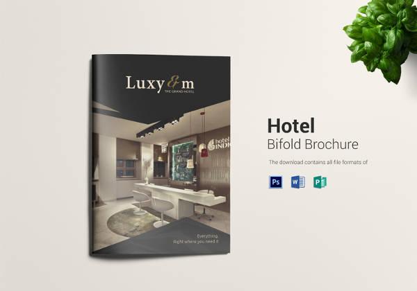 hotel bi fold brochure template in psd format