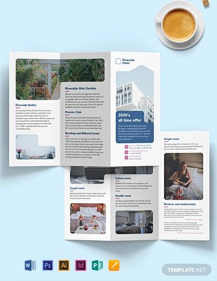 hotel tri fold brochure template