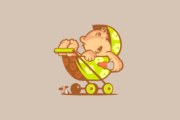 Illustration Baby Stroller Logo