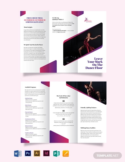 insignia dance studio tri fold brochure template