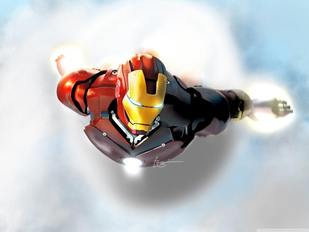 Iron Man in flight Wallpaper