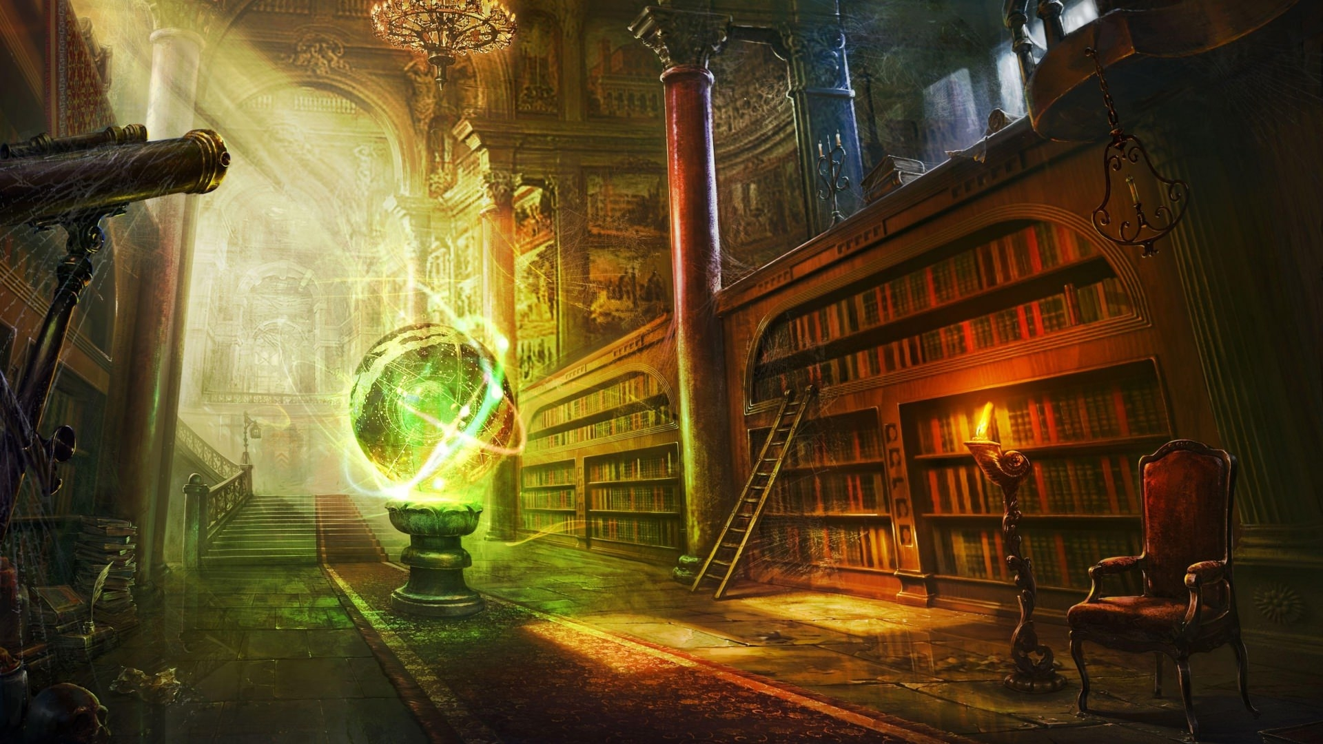 Magical Library Wallpaper