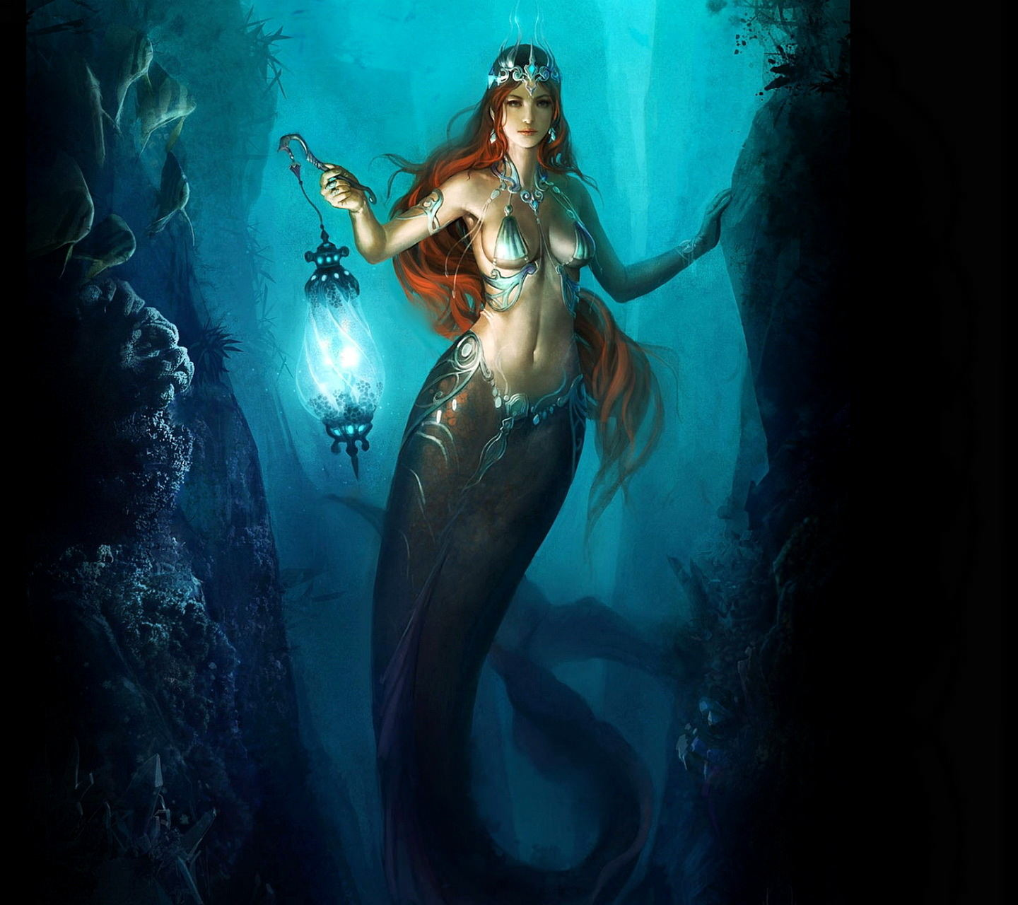 Mermaid With Lantern Wallpaper