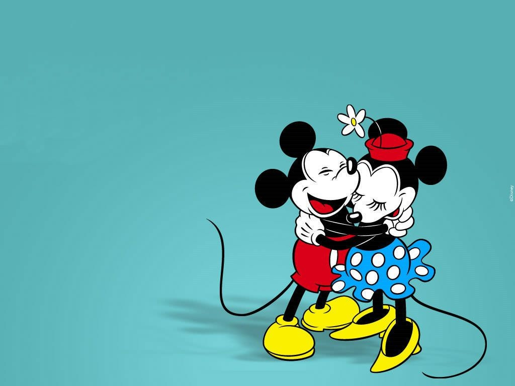 Mickey & Minnie Mouse Hug Each Other