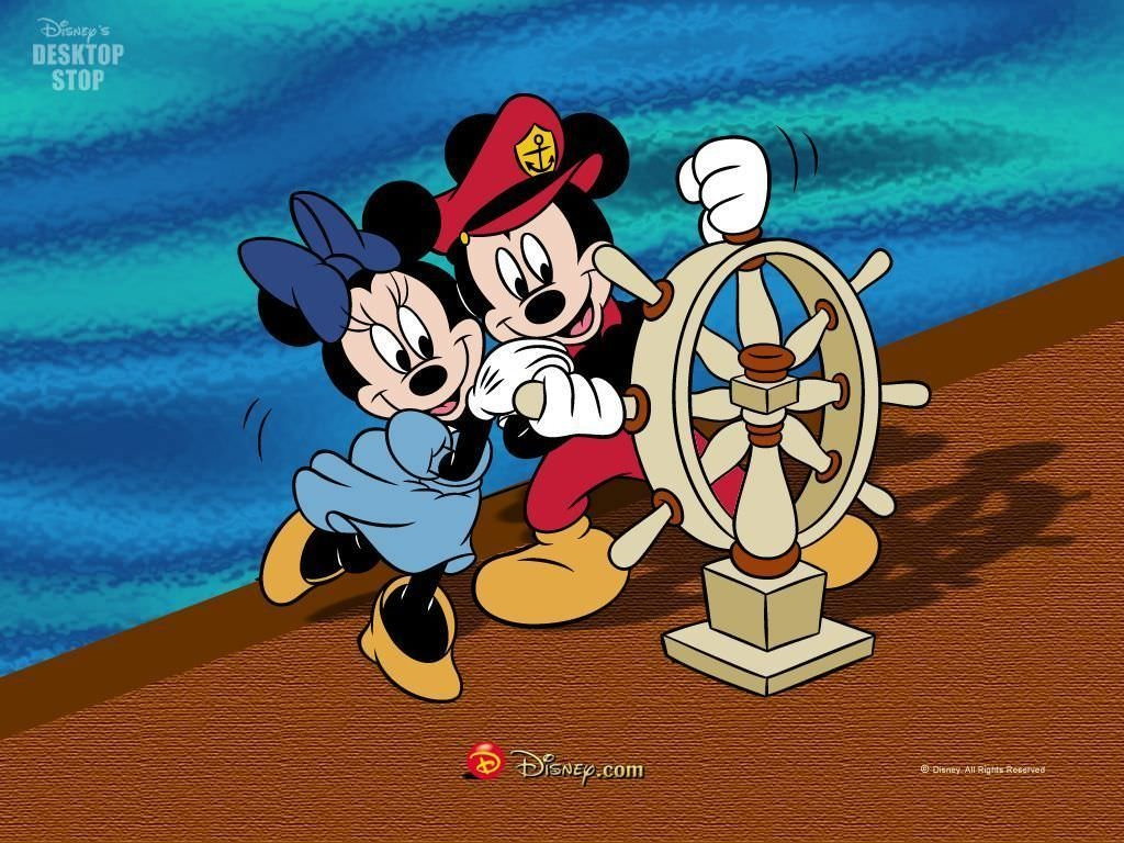 Mickey & Minnie Mouse with Ship Wheel