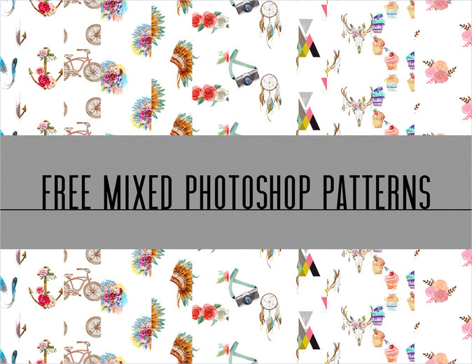 Mixed Watercolor Seamless Patterns