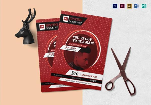 Modern Barbershop Flyer Template in MS Word Format