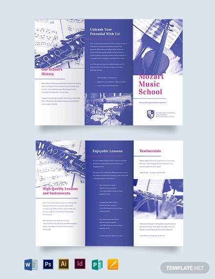 modern music school tri fold brochure template1