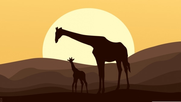 mother baby giraffe art wallpaper