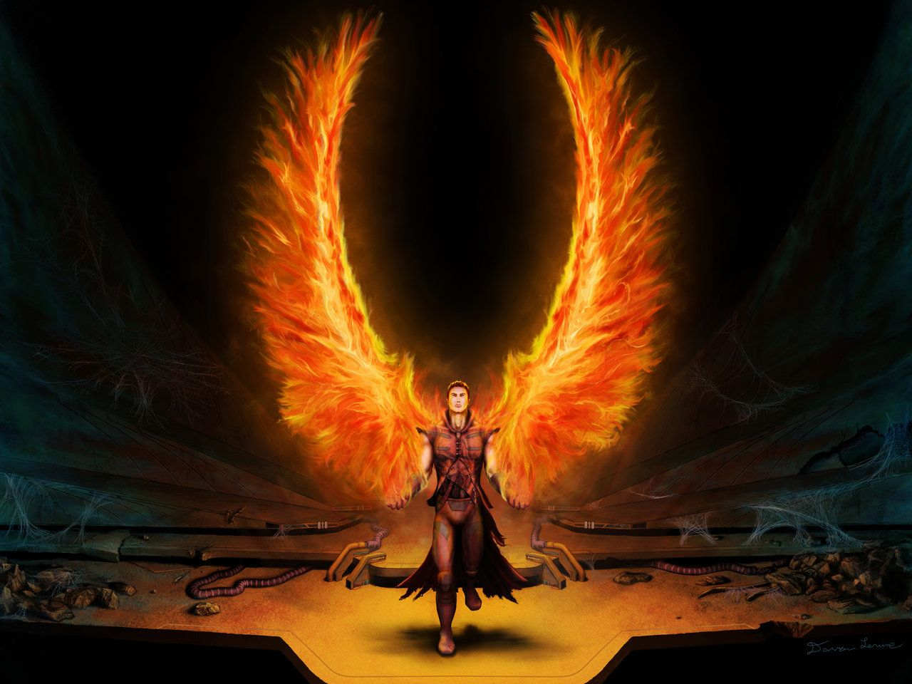 Mrvellous Fire Angel Wallpaper