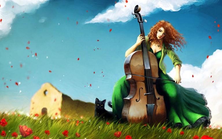 Music Lover Girl Painting Wallpaper