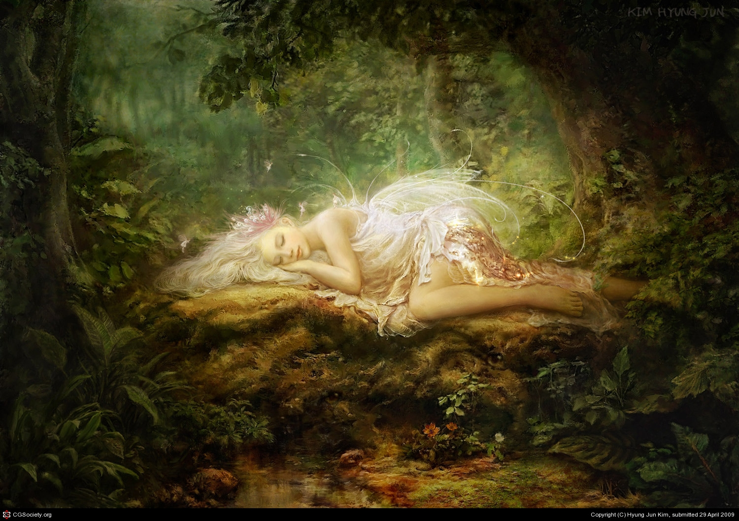 Naptime Fairy in Forest Wallpaper