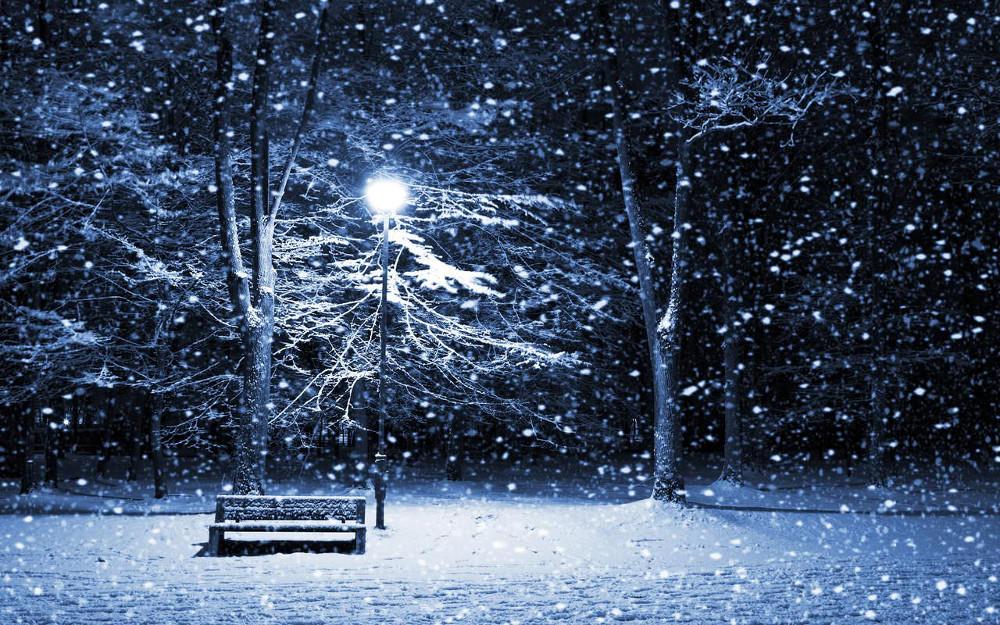 Night Winter Scene  Wallpaper