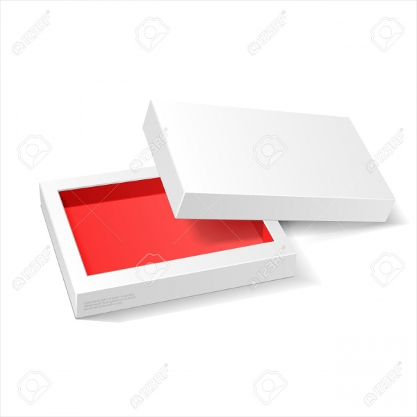 Opened White Red Cardboard Package Mock Up Box