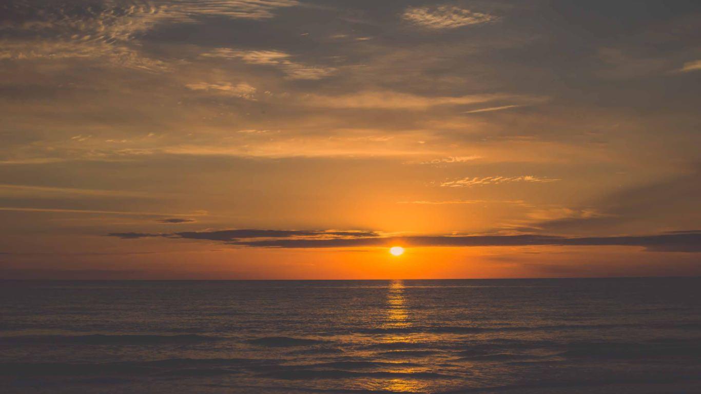 Orange Sunrise Beach Mac Wallpaper