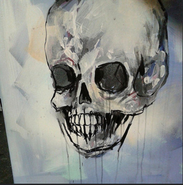 Paint Skull On Canvas Drawing