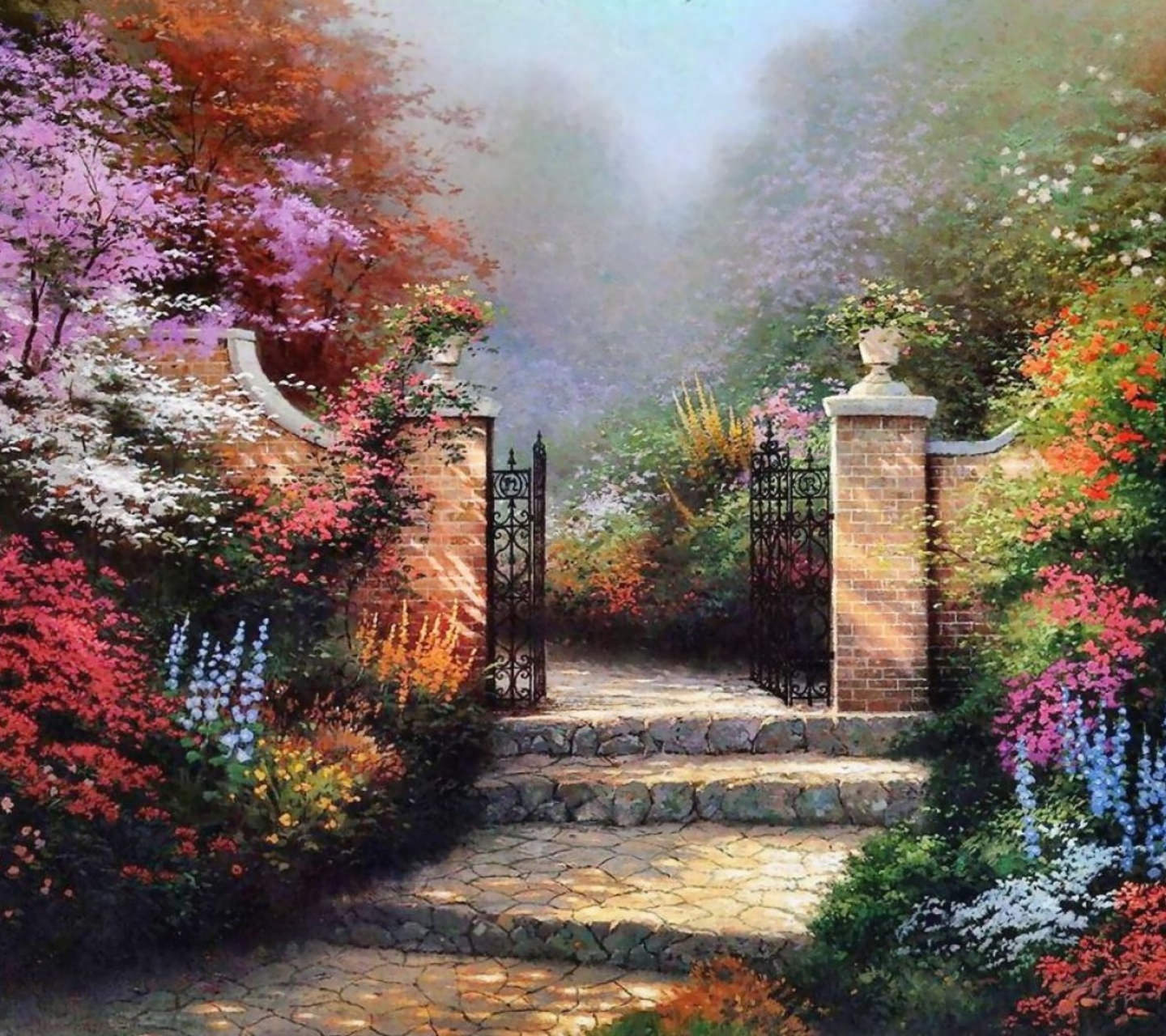 Painting Home Garden Wallpaper