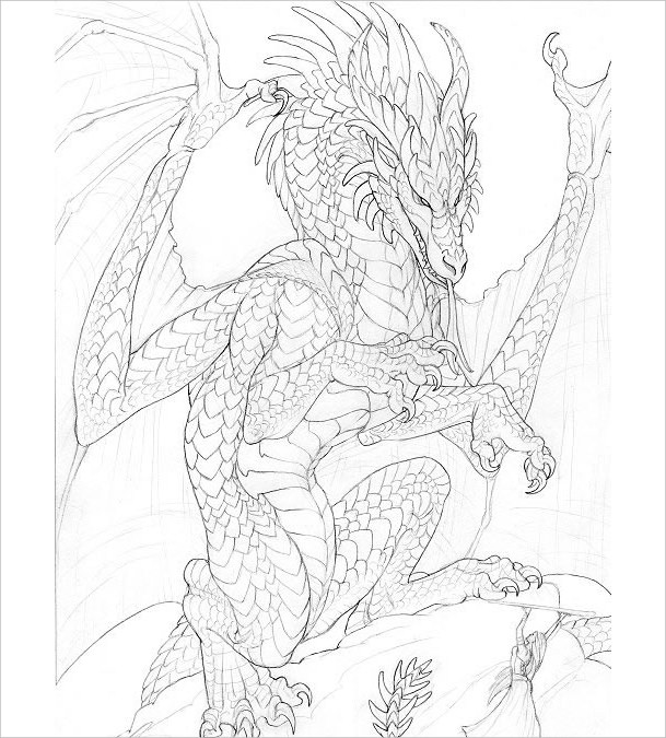 Pencil Drawing of Dragon