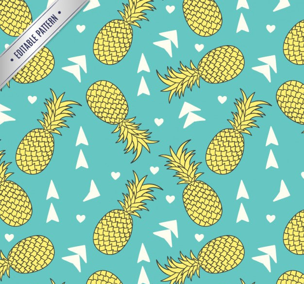 Pineapples Fruit Pattern Free Vector
