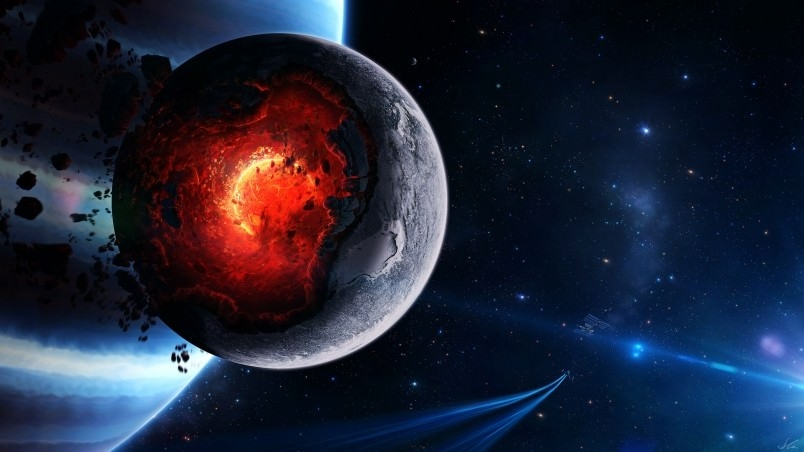 Planet Meltdown Digital Wallpaper