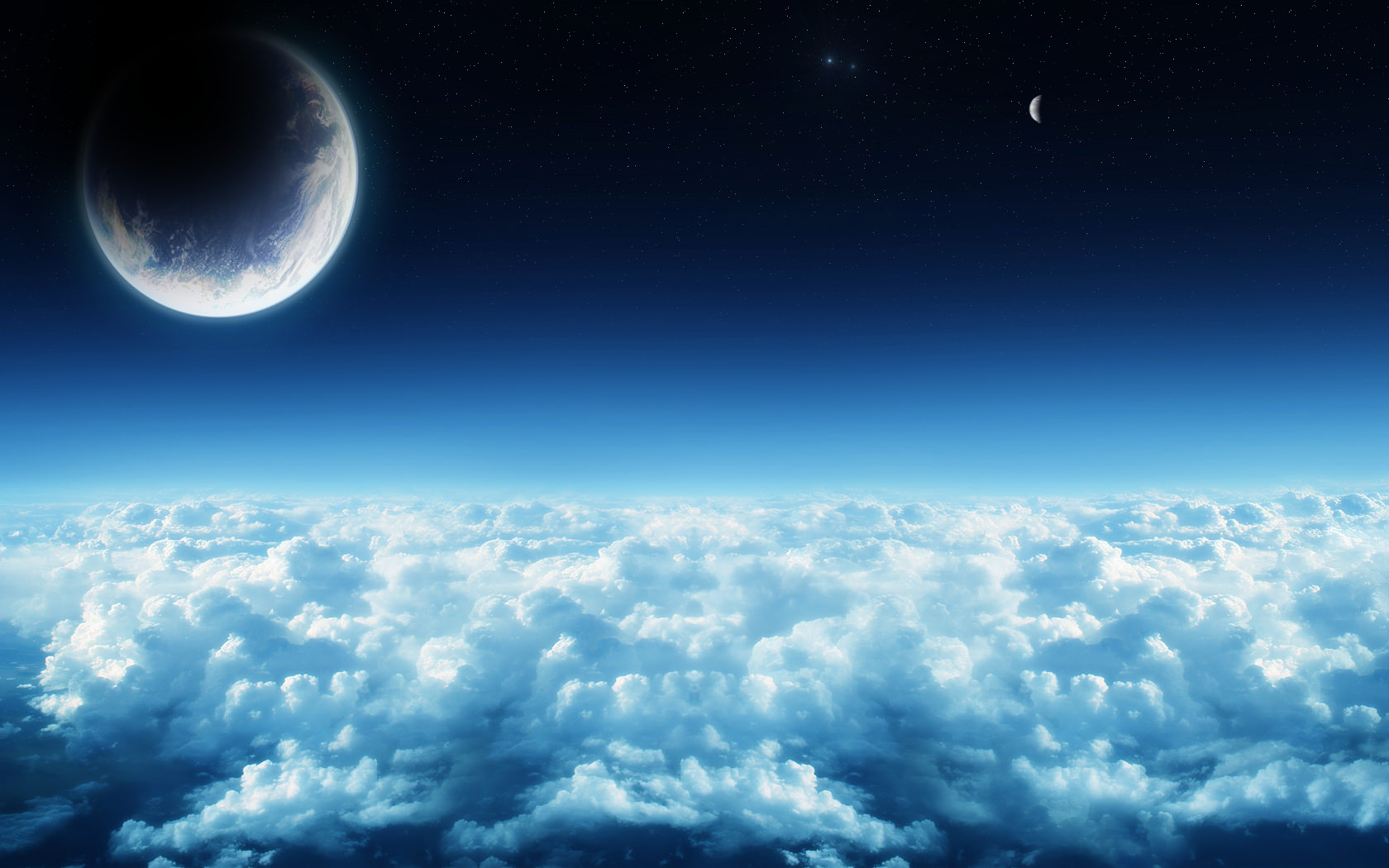 Planet on Clouds Wallpaper