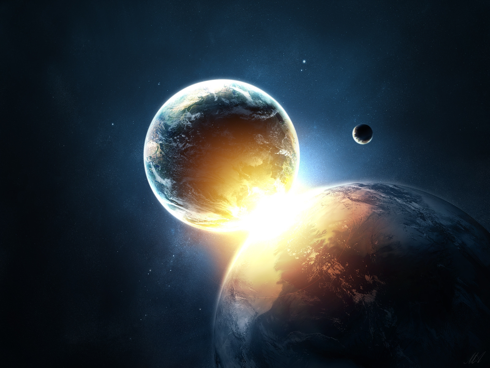 Planets Collide Wallpaper