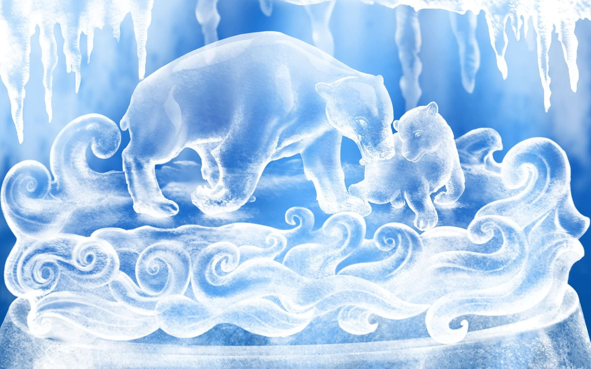 Polar Bear Ice Crystal Wallpaper