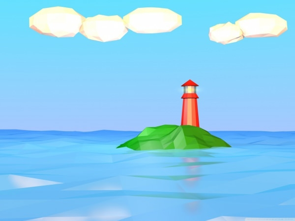 poly lighthouse hd art wallpaper