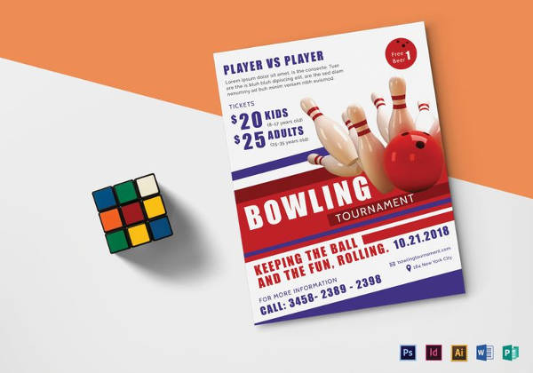 Printable Bowling Tournament Flyer Template