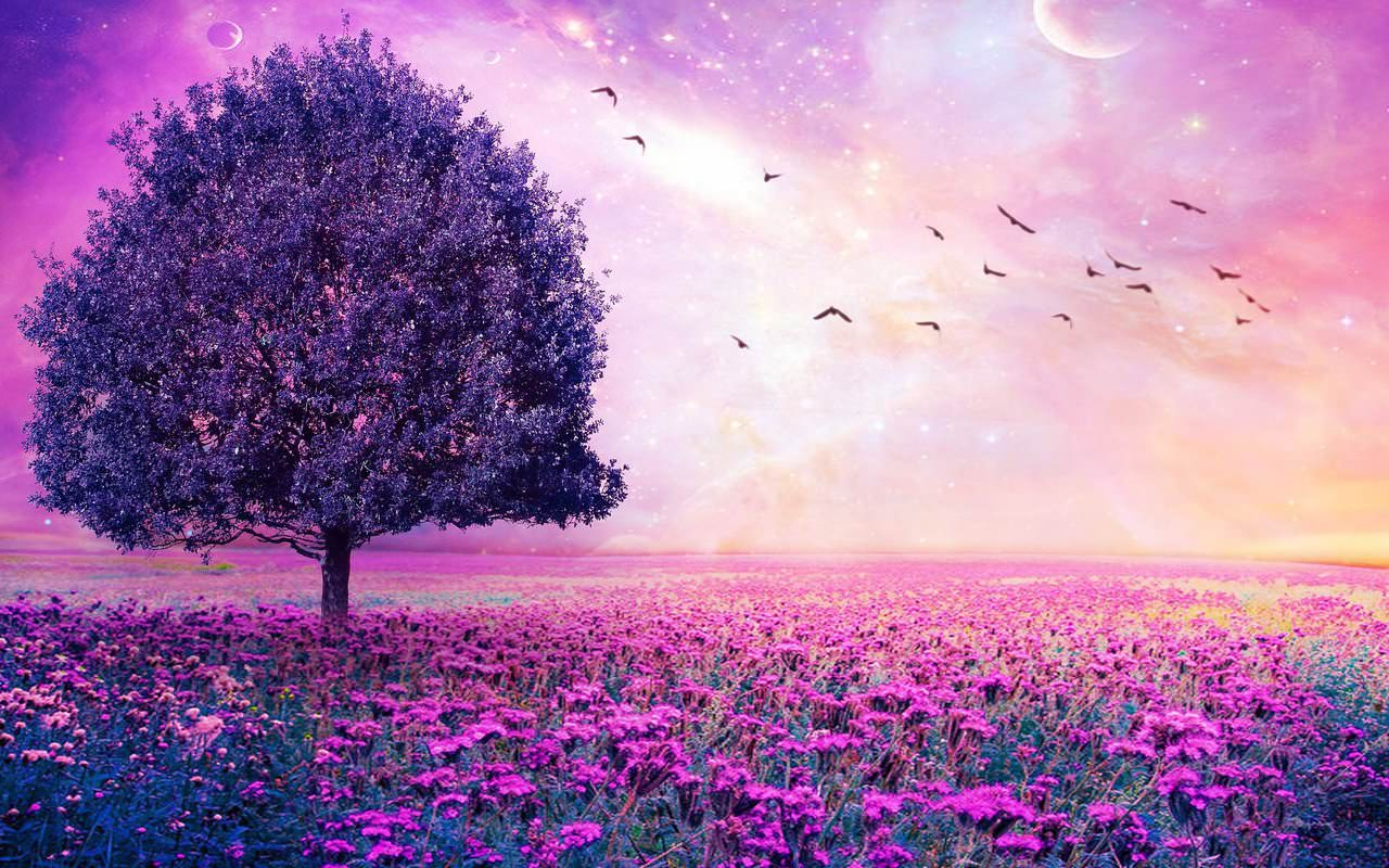 Purple tree Scenery Wallpaper