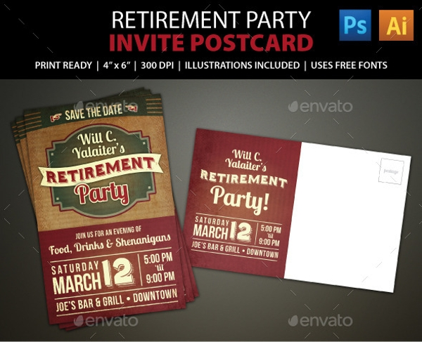 Retirement Party Postcard Invitation