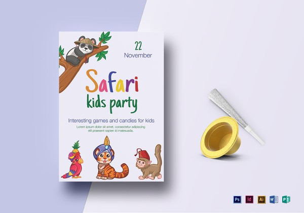Safari Jungle Kid Birthday Flyer Template