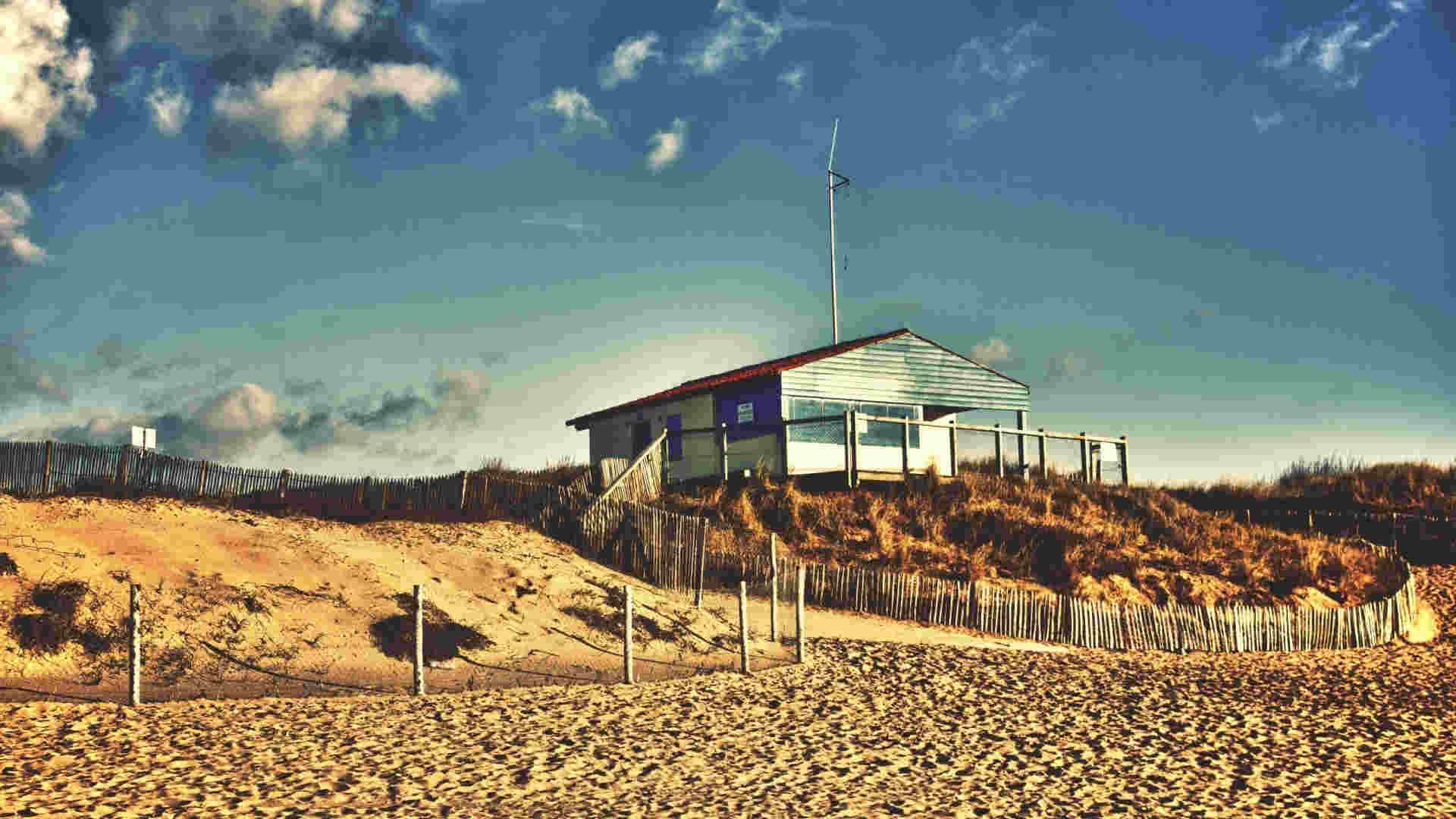 Sand Beach Building Wallpaper