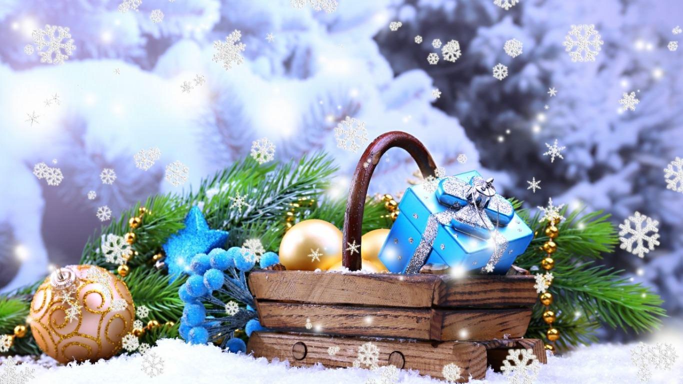Seasons Greetings Snowflakes Wallpaper