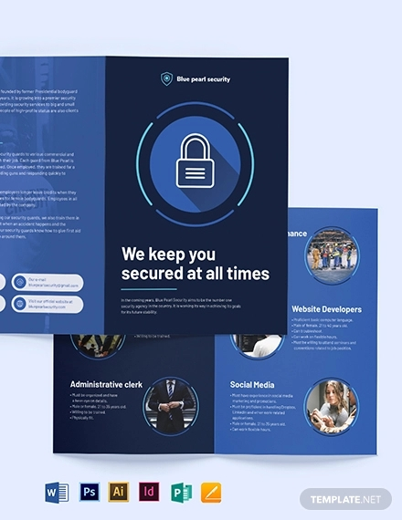 security company bi fold brochure template