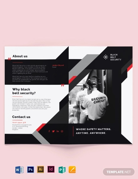 security guard agency bi fold brochure template