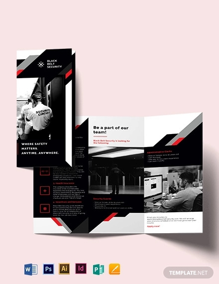 security guard agency tri fold brochure template