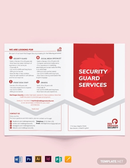 security guard services bi fold brochure template