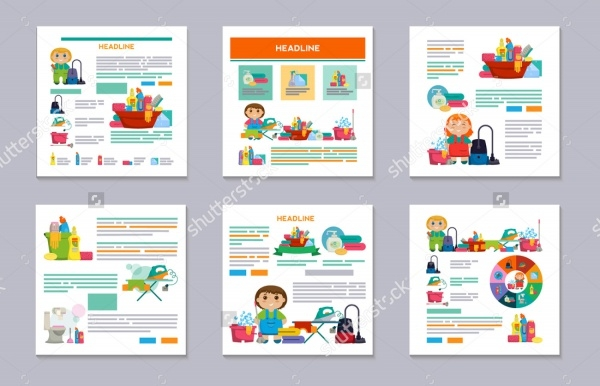 Set of Cleaning Service Flyer Template