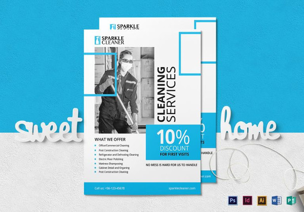 Simple Cleaning Service Flyer Template