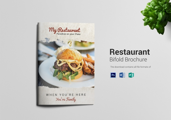 simple restaurant bi fold brochure template