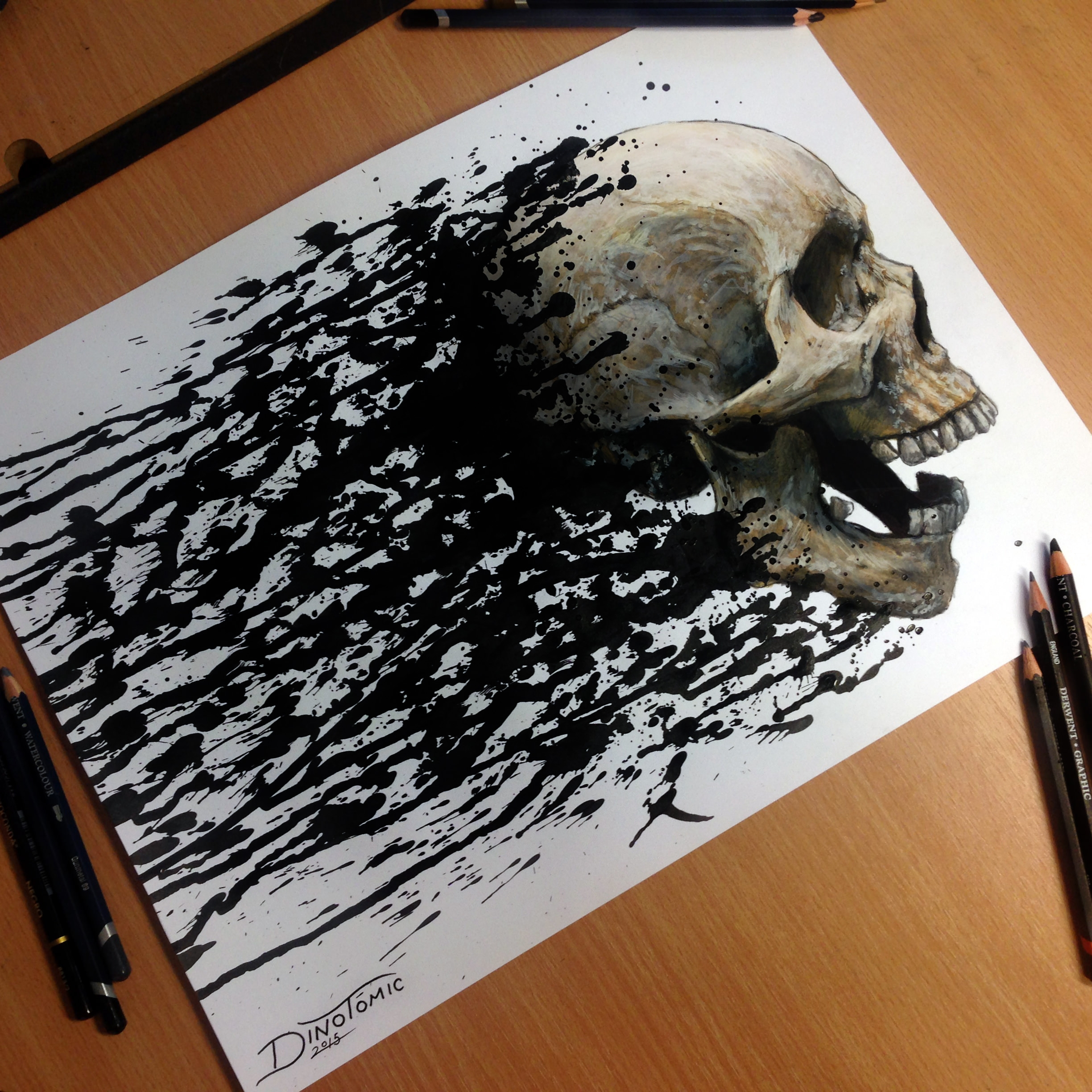 Skull Splatter Drawing