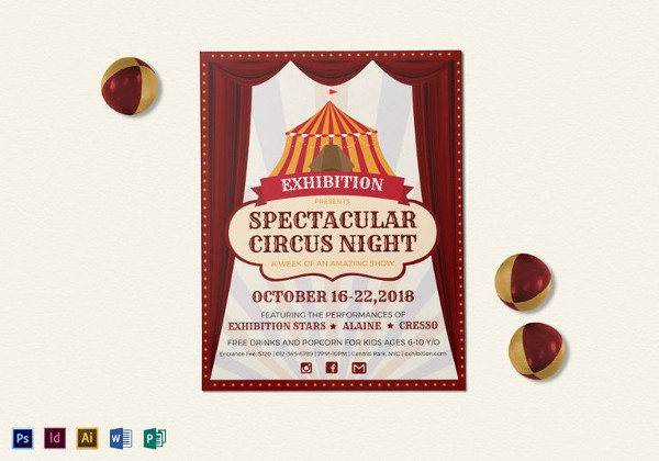 spectacular circus night flyer template1