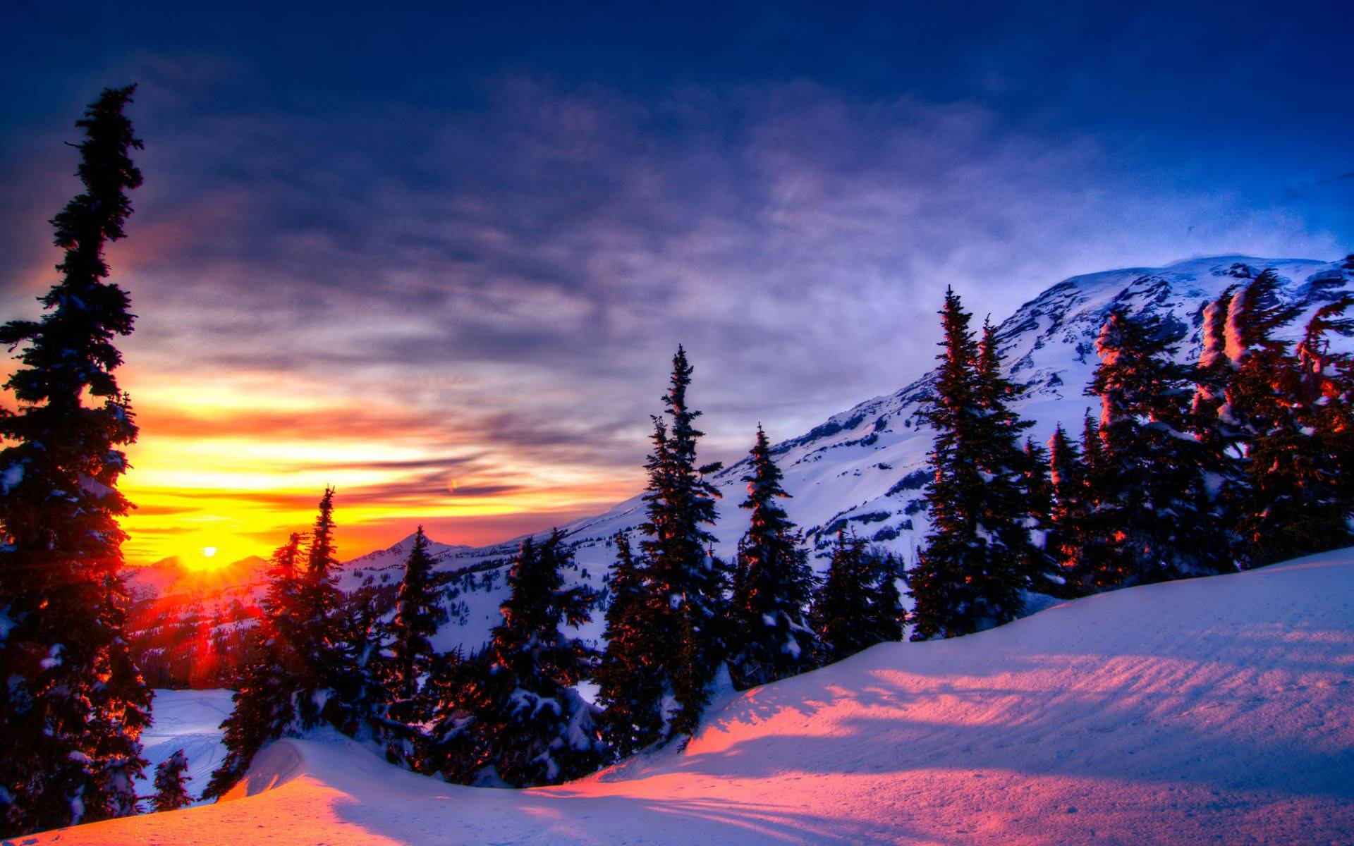 Sunrise in Snow Mountains Wallpaper